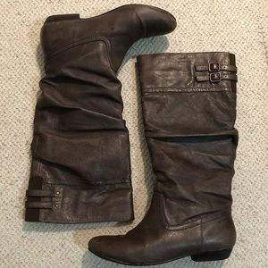 Nine West Lyssagd Brown Leather Boots